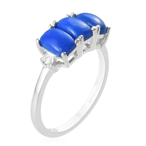 One Time Deal- Ceruleite and Diamond Ring in Sterling Silver 1.58 Ct.