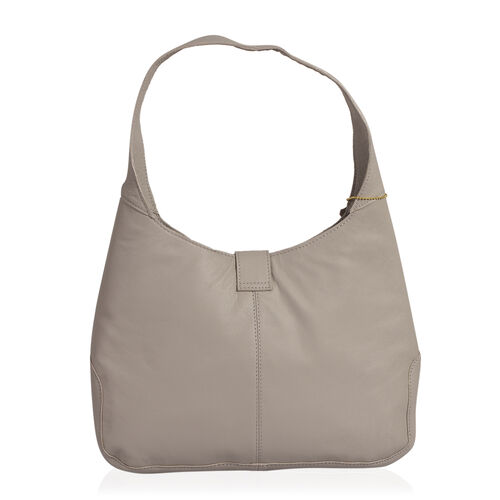 Premium Collection 100% Genuine Leather Grey Colour Floral Embroidered RFID Blocker Bag (Size 35x25x8 Cm)