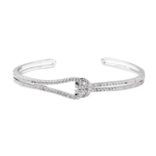 Simulated Diamond Knot Bangle (Size 7) in White Gold Tone