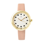 STRADA Japanese Movement Sunburst Effect Dial Water Resistant Watch with Beige Colour Strap