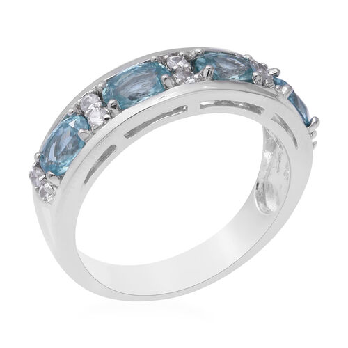 Blue Zircon (Ovl 6x4 mm), Natural White Cambodian Zircon Band Ring in Rhodium Overlay Sterling Silver 3.10 Ct.