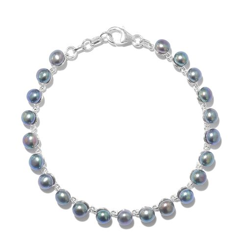 Designer Inspired- One Time Deal Fresh Water Peacock Pearl (Rnd 5mm) Tennis Bracelet (Size 7.5) in Sterling SIlver, Silver wt. 5.73 Gms