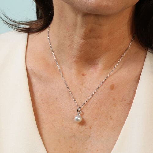 Royal Bali Collection - South Sea White Pearl and Natural Cambodian Zircon Pendant With Chain (Size 18) in Platinum Overlay Sterling Silver