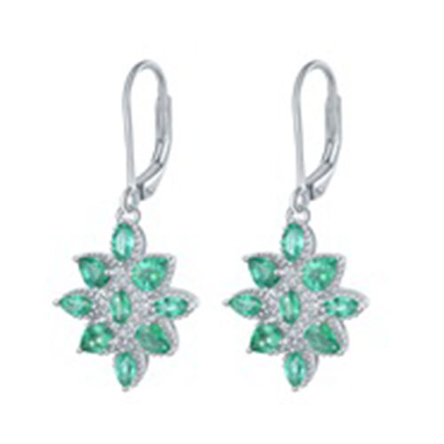 AAA Kagem Zambian Emerald (Pear and Mrq), Diamond Lever Back Earrings in Rhodium Overlay Sterling Si
