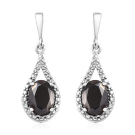 Elite Shungite (Ovl) Earrings (with Push Back) in Platinum Overlay Sterling Silver 1.50 Ct.