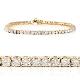 14K Yellow Gold EGL Certified Diamond (Rnd) (I1-I2/G-H) Tennis Bracelet (Size 7.25) 4.00 Ct, Gold wt