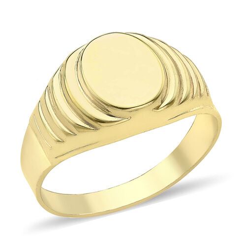 Personalise Engravable 9ct yellow gold Oval Ribbed Signet Ring