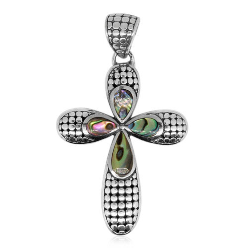 Royal Bali Collection Abalone Shell Cross Pendant in Sterling Silver .Silver Wt 6.00 Gms