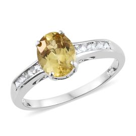 Madagascar Yellow Apatite (Ovl 1.75 Ct), Natural Cambodian Zircon Ring in Platinum Overlay Sterling Silver 2.250 Ct.