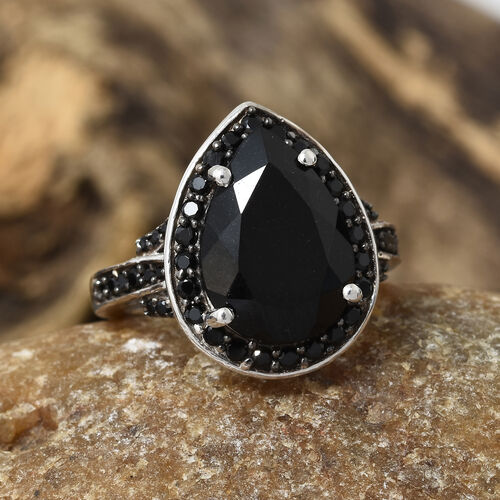 Black Tourmaline (Pear 5.00 Ct), Boi Ploi Black Spinel Ring in Platinum and Black Overlay Sterling Silver 5.750 Ct.