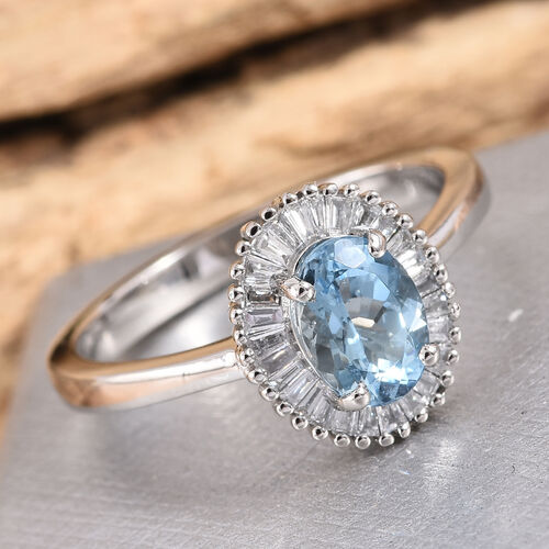 Collectors Edition- RHAPSODY 950 Platinum AAAA Santa Maria Aquamarine (Ovl), Diamond (VS/E-F) Ring 1.000 Ct.