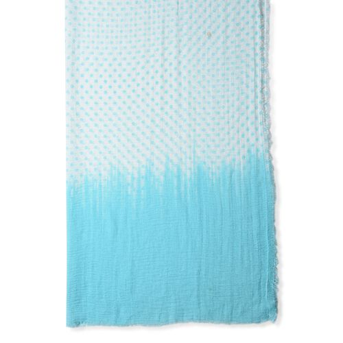 Sky Blue and White Colour Dot Pattern Top and End with Solid Colour Scarf (Size 180x90 Cm)