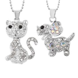 2 Piece Set - White Austrian Crystal (Rnd) and Multi Austrian Crystal Cat and Dog Pendant with Chain