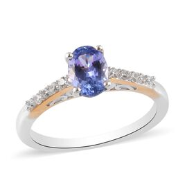 Tanzanite and Natural Cambodian Zircon Ring in Platinum and Yellow Gold Overlay Sterling Silver 0.95