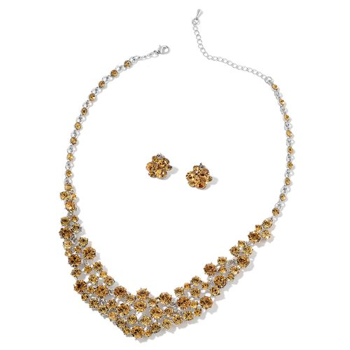 Champagne Colour Austrian Crystal Necklace (Size 17 with 3 Inch Extender) and Earrings (with Push Back) in Silver Tone