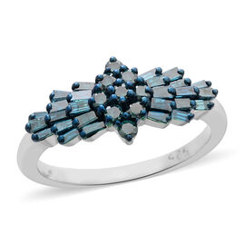 Blue Diamond (Bgt) Ring in Platinum Overlay Sterling Silver 1.000 Ct.