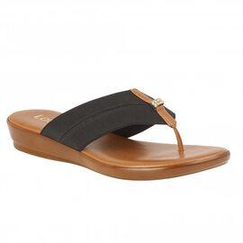 Lotus Black Hera Slip-On Toe-Post Sandals