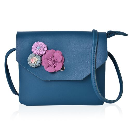 Handcrafted 3D Flowers Embellished Blue Colour Crossbody Bag (Size 19X17 Cm)