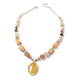 Murano Style Glass (Ovl), Simulated Pearl, Multi Colour Simulated Diamond, Natural Colour Shell, Tigers Eye, wood Necklace (Size 30 and 2.5 inch Extender)