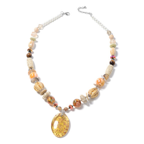Murano Style Glass (Ovl), Simulated Pearl, Multi Colour Simulated Diamond, Natural Colour Shell, Tig
