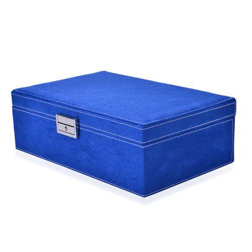 Dark Blue Colour Velvet Jewellery Box with Mirror Inside (Size 25X16X8.5 Cm)