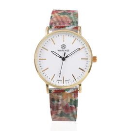 STRADA Japanese Movement Water Resistant Watch with Multi Colour Maple Leaf Pattern Mesh Chain Strap