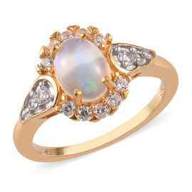 GP Ethiopian Welo Opal, Natural Cambodian Zircon and Blue Sapphire Ring in 14K Gold Overlay Sterling