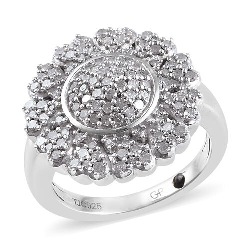 GP 0.79 Ct Diamond and Blue Sapphire Cluster Ring in Platinum Plated Sterling Silver