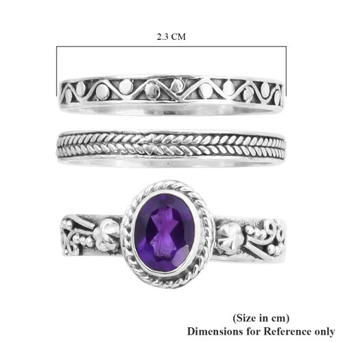 Royal Bali Collection - Set of 3 Lusaka Amethyst Ring in Sterling Silver 1.21 Ct, Silver wt 6.00 Gms