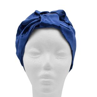 100% Mulberry Silk Turban / Bonnet in Navy (Size 18x24cm)