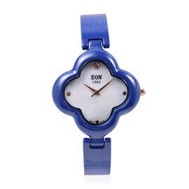 EON 1962 Diamond Swiss Movement Clover Blue HighTech Ceramic Watch -30 Mts Water Resistance