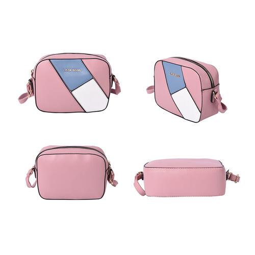 LOCK SOUL Colour Block Pattern Crossbody Bag - Pink, Blue and White