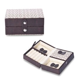 Small G-Pattern Travel Jewellery Organiser with Button Closure, 5 Ring Rows and 3 Sections with 2 Re
