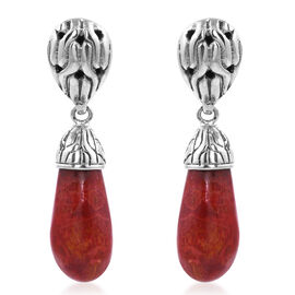 Royal Bali Collection Sponge Coral Drop Earrings with Push Back in Sterling Silver 5.61 Grams