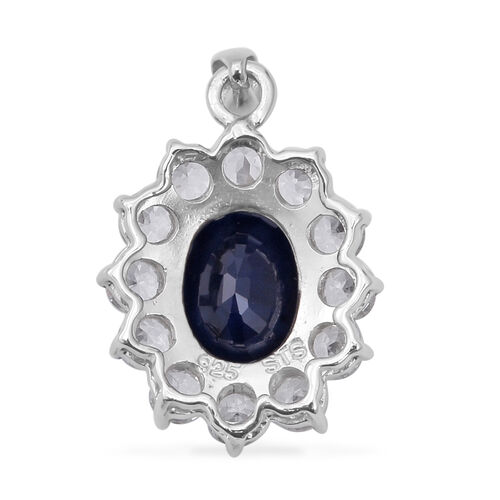 Madagascar Blue Sapphire (Ovl 3.45 Ct), Natural Cambodian White Zircon Pendant in Rhodium Overlay Sterling Silver 4.770 Ct.