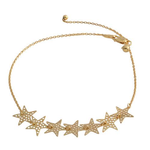Designer Inspired- Yellow Gold Overlay Sterling Silver Adjustable Star Anklet (Size 10)
