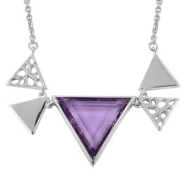RACHEL GALLEY Amethyst (Triangle) Lattice Necklace (Size 20) in Rhodium Plated Sterling Silver
