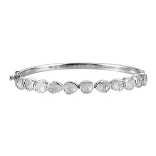 Artisan Crafted Polki Diamond Bangle (Size 7.5) in Sterling Silver 3.00 Ct, Silver wt 19.00 Gms