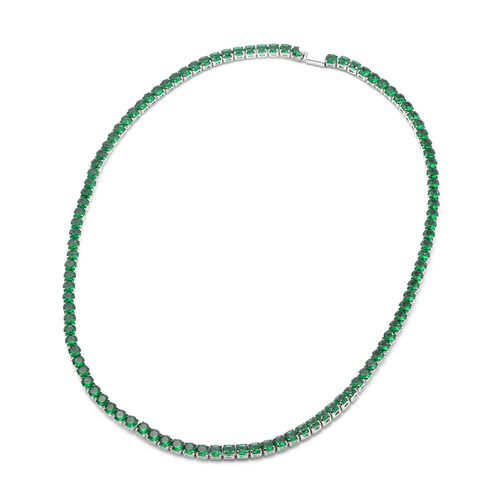 Christmas Special Deal - Simulated Emerald Tennis Silver Plated Necklace (Size 18)