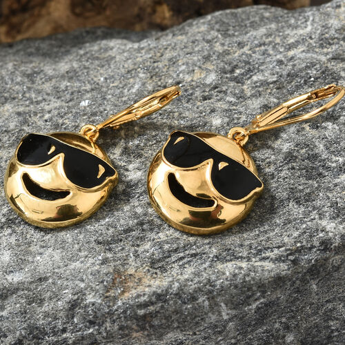 14K Gold Overlay Sterling SIlver Smiling Face with Sunglasses Smiley Lever Back Earrings
