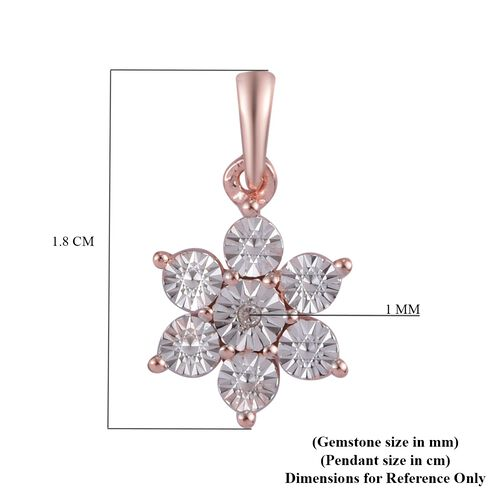 Diamond Floral Pendant in Rose Gold Overlay Sterling Silver