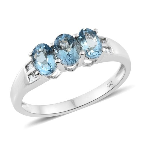 9K White Gold AA Santa Maria Aquamarine (Ovl), Diamond Ring 1.350 Ct.