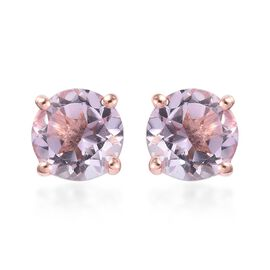 AA Pink Amethyst Solitaire Stud Earrings (with Push Back) in 14K Rose Gold Overlay Sterling Silver 2