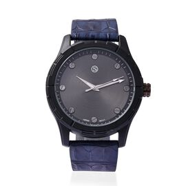 STRADA Japanese Movement Water Resistance Sporty Watch in Black Plating - Navy Blue