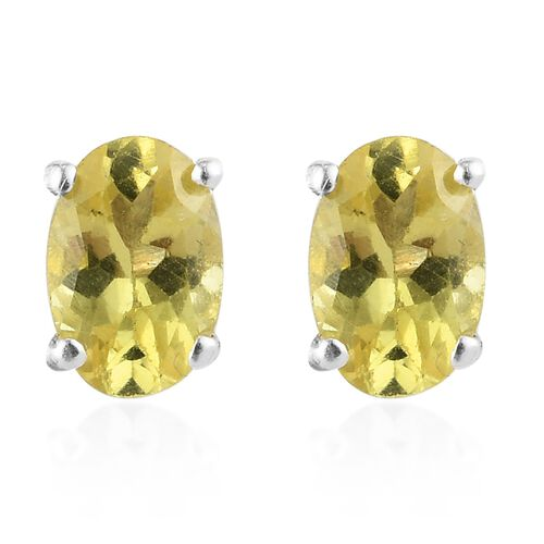 Yellow Apatite Earring in Platinum Overlay Sterling Silver 0.20 ct  1.250  Ct.