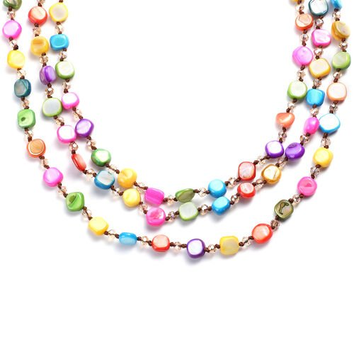 Simulated Champagne Diamond and Multi Gemstone Beaded Necklace (Size 22 with 2 inch Extender) in Silver Tone