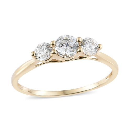 J Francis - 9K Yellow Gold (Rnd) 3 Stone Ring Made with SWAROVSKI ZIRCONIA.