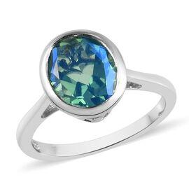 2.75 Ct Peacock Quartz Solitaire Ring in Platinum Plated Silver