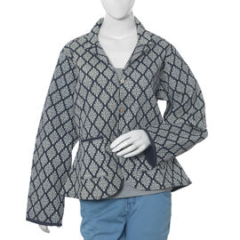 100% Cotton Black Colour Reversible Quilted Jacket (Size 110.5x63.5 Cm, M/L)