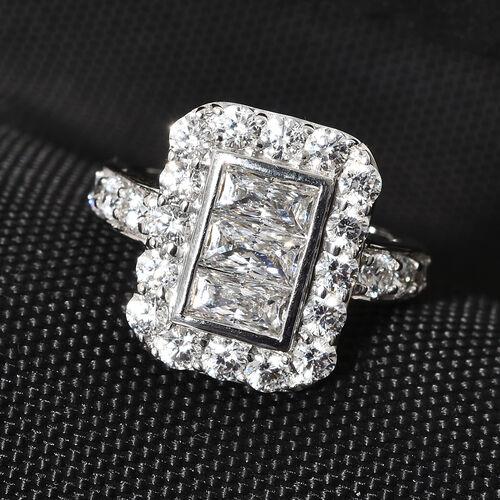 J Francis - 9K White Gold (Bgt) Ring Made with SWAROVSKI ZIRCONIA